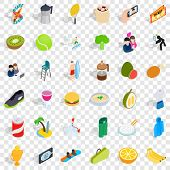 Surf Club Icons Set. Isometric Style Of 36 Surf Club Vector Icons For Web For Any Design poster