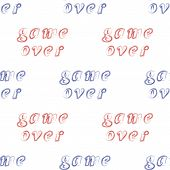 Red Blue Grunge Game Over Sign Seamless Pattern On White Background. Gaming Concept. Video Game Scre poster
