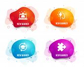 Liquid Badges. Set Of Best Manager, Continuing Education And Brainstorming Icons. Strategy Sign. Bes poster