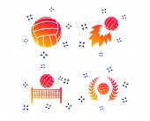 Volleyball And Net Icons. Winner Award Laurel Wreath Symbols. Fireball And Beach Sport Symbol. Rando poster