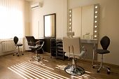 Cabinet make-up artist and hairdresser. Modern design.