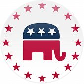 White Republican Button