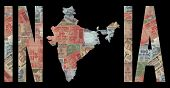 picture of mahatma gandhi  - Map of India with text on Indian Rupees illustration - JPG