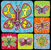 Cartoon butterflies set.