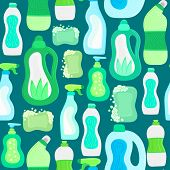 Seamless Pattern. Eco Friendly Household Cleaning Supplies. Natural Detergents. Products For House W poster