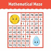 Mathematical Colored Square Maze. Education Developing Worksheet. Game For Kids. Puzzle For Children poster