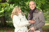 Couple gathering conkers