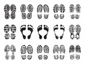 Footprint Texture. Silhouettes Of Sneakers For Human Male And Female Shoes Vector Printing Pictures. poster