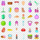 Salon Icons Set. Cartoon Style Of 36 Salon Vector Icons For Web For Any Design poster