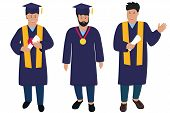 Young Guy Graduate In Graduation Gown And Hats With Tassels. Trendy Flat Men poster