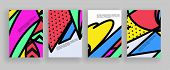 Minimal covers design. Placard templates set with abstract geometric shapes, 80s memphis bright styl poster