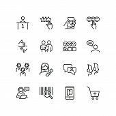 Customer Service Line Icon Set. Call Center, Positive Or Negative Evaluation. Support Concept. Can B poster