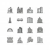 Modern Architecture Line Icon Set. Skyscraper, Office Building, Block Of Flats. Buildings Concept. C poster