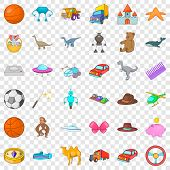 Dinosaurs Icons Set. Cartoon Style Of 36 Dinosaurs Vector Icons For Web For Any Design poster