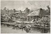 Omoura channel old view, Japan. Created by Grenet after photo by unknown author, published on Le Tour Du Monde, Ed. Hachette, Paris, 1867