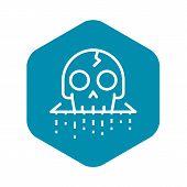 Crack Skull Icon. Outline Crack Skull Vector Icon For Web Design Isolated On White Background poster