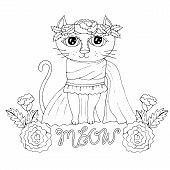 Cartoon Cat For Coloring Book Or Pages poster