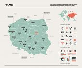 Vector Map Of Poland. Country Map With Division, Cities And Capital Warsaw. Political Map,  World Ma poster