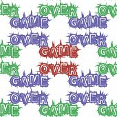 Red Blue Green Game Over Sign Seamless Pattern On White Background. Gaming Concept. Video Game Scree poster
