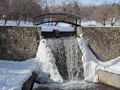 Snowy Waterfall Scene