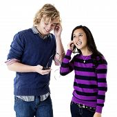 happy teens listening to music