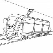 Coloring Page. Colouring Picture. Cute Cartoon Tram. Electric Trolley Car On Railroad. Childish Desi poster