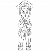 Colouring Page. Cute Cartoon Policeman Or Police Officer. Childish Design For Kids Coloring Book. poster