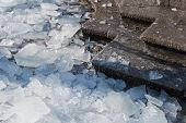 Detail Of Pieces Of Broken Ice On The Stairs