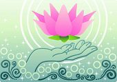 Beautiful Pink Lotus and Buddha's Hand on blue background