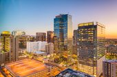 Phoenix, Arizona, USA cityscape in downtown at sunset. poster