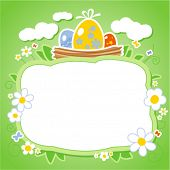 Easter card template with frame for photo or text.