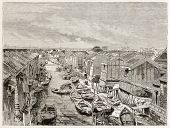 Channel in Yedo (Tokyo) old view. Created by Therond after photo by unknown author, published on Le