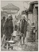 Fish market in Yedo (Tokyo), old illustration. Created by Neuville after photo by unknown author, pu