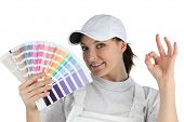 Decorator holding swatch