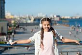 Girl Little Tourist Kid Explore City Using Audio Guide Application. Free Style Of Travelling. Exciti poster