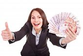 picture of fantail  - Woman with  money Russian rouble - JPG