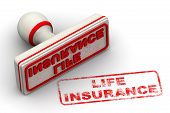 Life Insurance. Seal And Imprint. Red Rubber Stamp And Red Print Life Insurance On White Surface. Is poster