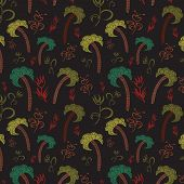 Seamless Pattern With Palms And Flowers