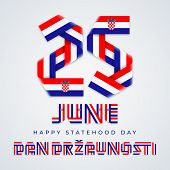 Congratulatory Design For June 25, Croatia Statehood Day. Text Made Of Bended Ribbons With Croatian  poster