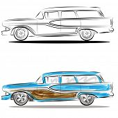 An image of a station wagon - watercolor line art.