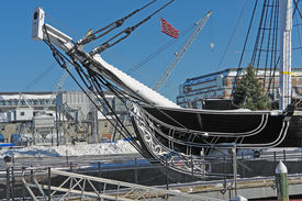 stock photo of uss constitution  - detail of a sailing ship named  - JPG