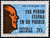 A stamp printed in Argentina shows Eva Peron