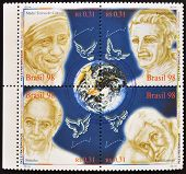stamps dedicated to Mother Teresa of Calcutta Frei Galvao Betinho and Brother Damian