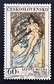A stamp printed in Czechoslovakia shows women allegory