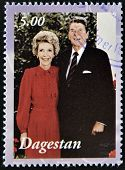 A stamp printed in Republic of Dagestan shows Ronald and Nancy Reagan circa 2001