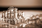 Chess Pieces - Business Concept Series: Compete, Strategy, Leadership, Win, Checkmate.