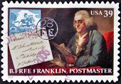 UNITED STATES OF AMERICA - CIRCA 2006: A stamp printed in USA shows Benjamin Franklin postmaster cir
