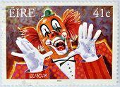 IRELAND - CIRCA 2002: A stamp printed in Ireland shows a clown circa 2002