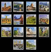UNITED KINGDOM - CIRCA 2012: Collection stamps printed in Great Britain shows emblematic place the U