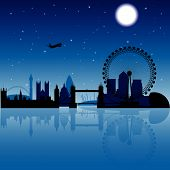 image of london night  - London silhouette at night with stars and moon on the background - JPG